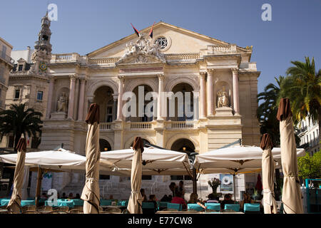 Open-air cafe tables in front of the Toulon Opera Theatre France - Stock Photo