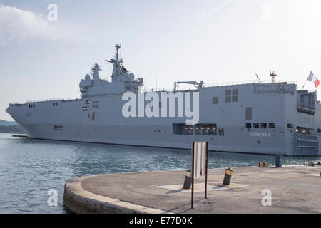 French helicopter carrier and assault ship in port of Toulon France - Stock Photo