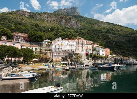 Maratea harbour on the Tyrrhenian coast of Basilicata, Southern Italy. - Stock Photo