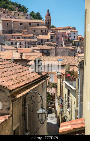 Looking across the rooftops of the little town of Maratea, above the Tyrrhenian coast of Basilicata, Southern Italy. - Stock Photo