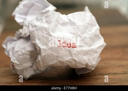 Idea text on paper - Stock Photo