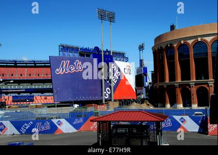 QUEENS, NEW YORK:  Two Shea Stadiums, home of the New York Mets baseball team - the old one on left and  new Citifield - Stock Photo