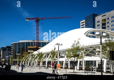 Denver Union Railroad Station white protective canopy - Stock Photo