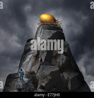 Golden nest egg concept as a retirement plan metaphor with a man standing at the bottom of a rock cliff thinking - Stock Photo