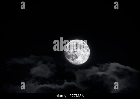 Brilliant Full Moon and Clouds - Stock Photo