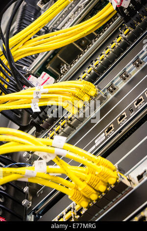 Yellow ethernet cables plugged into a high end router machine at a computer data center - Stock Photo