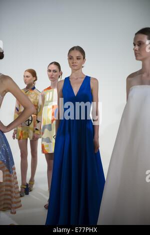 New York, New York, USA. 19th Mar, 2013. Models Pose at Presentation for designer NOVIS collection of Spring 2015. - Stock Photo