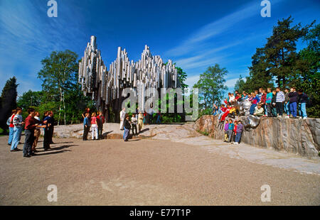 School children and visitors at Sibelius Monument in Helsinki Finland - Stock Photo