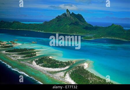 Aerial Of A Coral Reef Bora Bora French Polynesia Stock