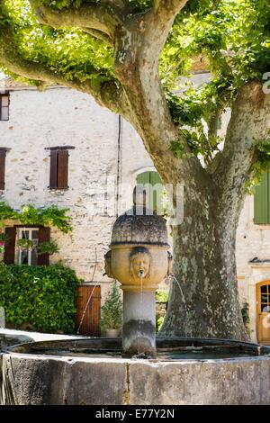 Medieval fountain, Vaison-La-Romaine, Vaucluse, Provence-Alpes-Cote d'Azur, Provence, France - Stock Photo