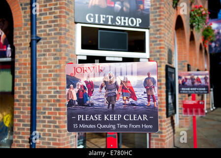 Sign for the Jorvik Viking Centre, Coppergate, York, North Yorkshire, England UK - Stock Photo
