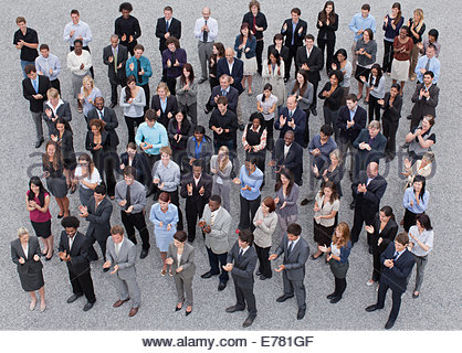 Crowd of clapping business people - Stock Photo