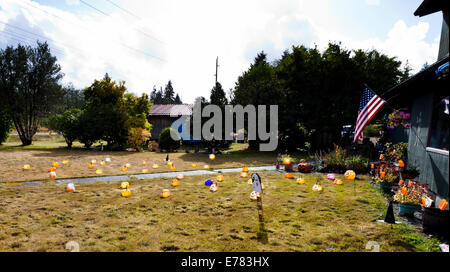 plastic halloween decorations on a lawn washington state usa stock photo