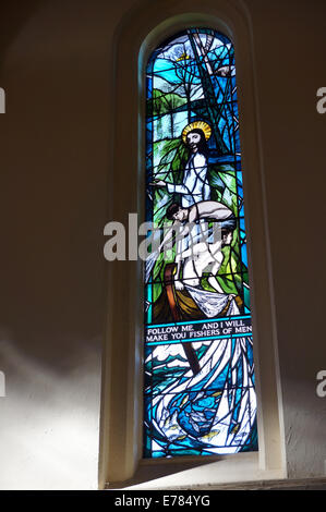 Susan Ashworth's Millennium window at The Church of St. Peter & St. Paul at Albury in Surrey, UK - Stock Photo