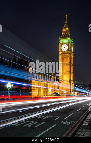 Colours of the Union Jack & Big Ben. Long exposure of the traffic passing on Westminster Bridge in London, England. - Stock Photo