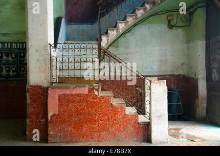 Colorful decaying stairway and hall in Old Havana - Stock Photo