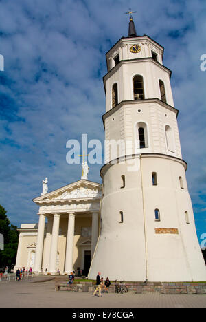 Bell tower and cathedral, Cathedral square, central Vilnius, Lithuania, Europe - Stock Photo
