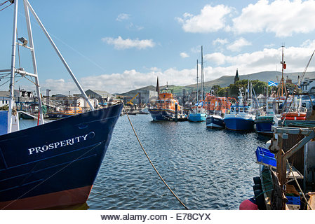 The Saltire flag flies over the Harbour at Girvan, Ayrshire, as the fishing trawler 'Prosperity' lies tied-up in - Stock Photo
