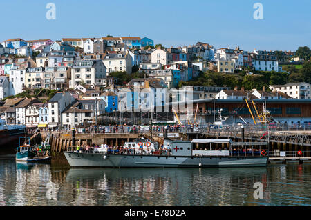 WW 2 patrol boat, brixham harbour,rml497,boat, torbay, vessels, flags, sea, water, harbour, anchored, fishing, devon, - Stock Photo