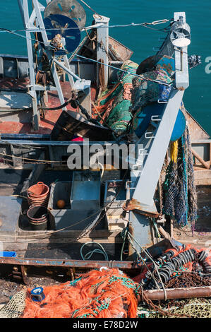 Trawler in brixham harbour,brixham harbour,yachts, haven, ripples, coast, town, nautical, white, seaside, colourful, - Stock Photo