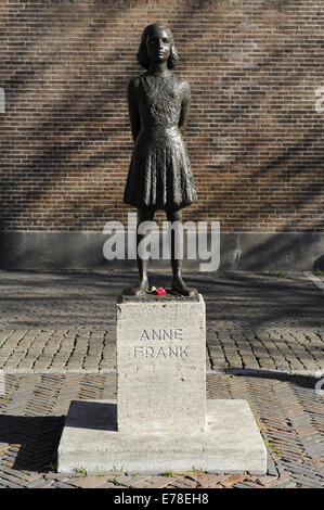 Anne Frank (1929-1945). Jewish victim of the Holocaust.  Statue. Utrecht, Netherlands. - Stock Photo