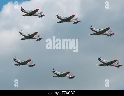 The Polish Air Force Orlik Aerobatic Team departs the 2014 Royal International Air Tattoo, Fairford, England. - Stock Photo
