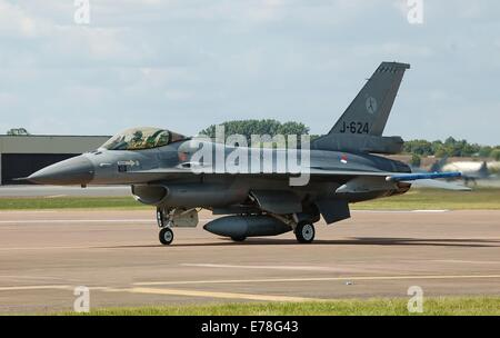 Royal Netherlands Air Force F-16 (J-624) arrives for the 2014 Royal International Air Tattoo, RAF Fairford, Gloucestershire, - Stock Photo