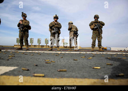U.S. Marines with Special Purpose Marine Air-Ground Task Force South stand by after completing a live-fire exercise - Stock Photo