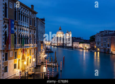 View of Grand Canal in Venice Italy from the Academia Bridge after the sunset. - Stock Photo