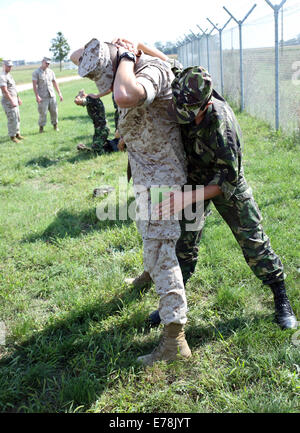 U.S. Marines with Golf Company, 2nd Battalion, 2nd Marine Regiment, assigned to Black Sea Rotational Force (BSRF) - Stock Photo