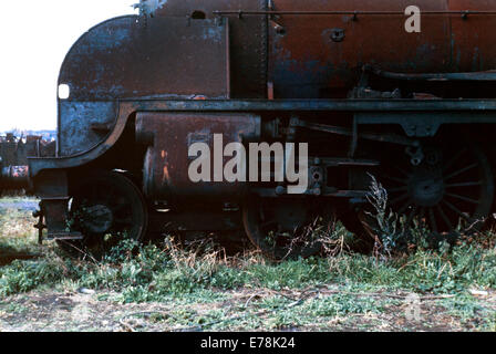 rusting ex british rail steam locomotive standing in woodham brothers scrapyard barry island wales during the mid - Stock Photo