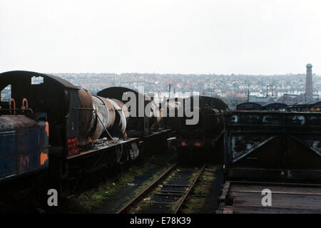 rusting ex british rail steam locomotives standing in woodham brothers scrapyard barry island wales during the mid - Stock Photo