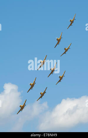 Pacific Aerospace CT-4E Airtrainers of the Royal New Zealand Air Force's Red Checkers display team perform over - Stock Photo