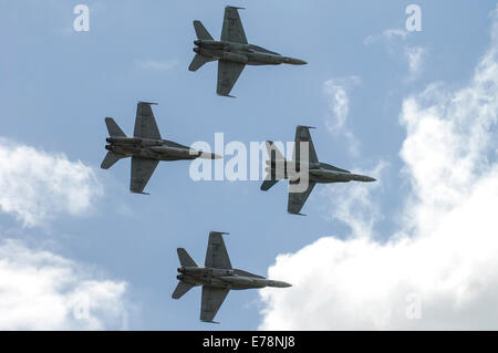Formation of McDonnell Douglas F/A-18A Hornets of the Royal Austrialian Air Force at Avalon Air Show - Stock Photo