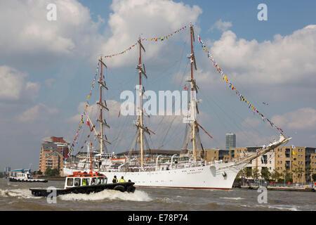 Parade of Sail, Royal Greenwich Tall Ships Festival 2014. Polish ship Dar Mlodziezy - Stock Photo