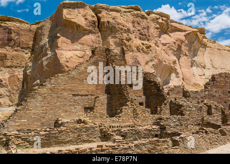 Pueblo Bonito, Chaco Culture National Historical Park, Chaco Canyon; New Mexico, United States of America - Stock Photo