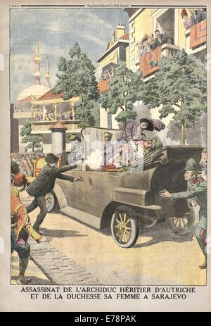 The assassination of Archduke heir of Austria and of the Duchess his wife in Sarajewo, Illustrated supplement of - Stock Photo