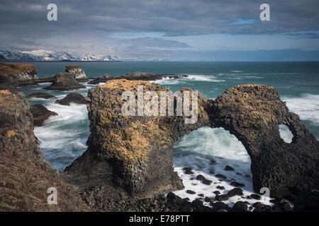 the rock arch of Gatklettur on the coast nr Arnastapi, Snaefellsnes Peninsula, western Iceland - Stock Photo