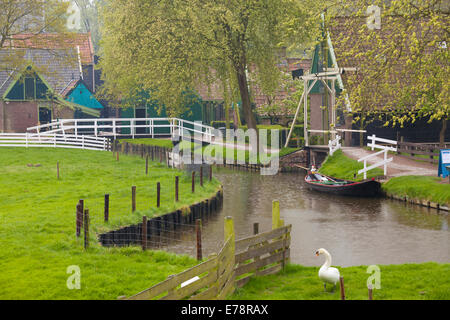Canal and Buildings, Zuidersee Museum, Enkhuizen, North Holland, Netherlands - Stock Photo
