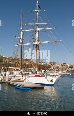 The brigantine Exy Johnson at the dock for the 30th Annual Toshiba Tall Ships Festival in Dana Point Harbor Southern - Stock Photo