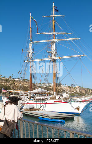 A Pirate views The brigantine Exy Johnson at the 30th Annual Toshiba Tall Ships Festival Dana Point Harbor Southern - Stock Photo