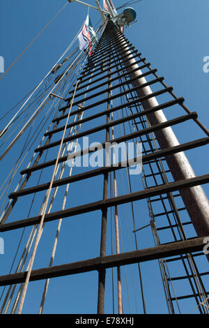 Tall ships mast and rope ladders at the 30th Annual Toshiba Tall Ships Festival in Dana Point Harbor California - Stock Photo
