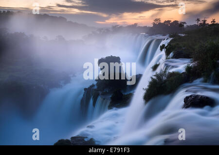 Iguazu Falls at dawn, Argentina - Stock Photo