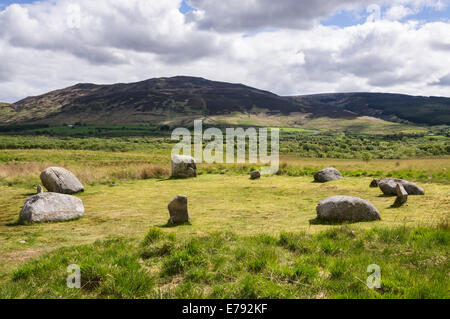 One of several stone circles on Machrie Moor, Isle of Arran. - Stock Photo