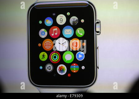 Cupertino, California, USA. 9th September, 2014. Apple's computer watch with a square-shaped display and rounded - Stock Photo