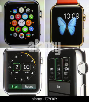 Cupertino, California, USA. 9th September, 2014. A composite picture shows Apple's new computer watch with a square - Stock Photo