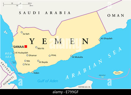 Yemen Political Map with capital Sanaa, national borders and most important cities. English labeling and scaling. - Stock Photo