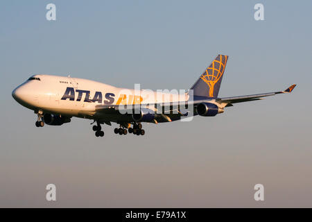 Atlas Air Boeing 747-400 approaches runway 23R at Manchester airport. - Stock Photo