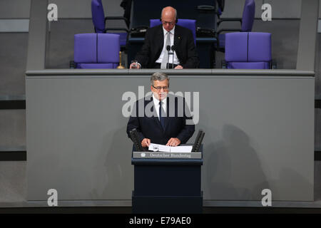 Berlin, Germany. 10th Sep, 2014. President of Poland Bronislaw Komorowski (front) speaks during a memorial session - Stock Photo