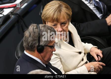 Berlin, Germany. 10th Sep, 2014. German Chancellor Angela Merkel (R) and President of Poland Bronislaw Komorowski - Stock Photo
